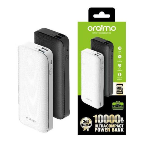Oraimo 10000mAh Ultra Slim 2.1A Fast Charging Power Bank OPB-P106D