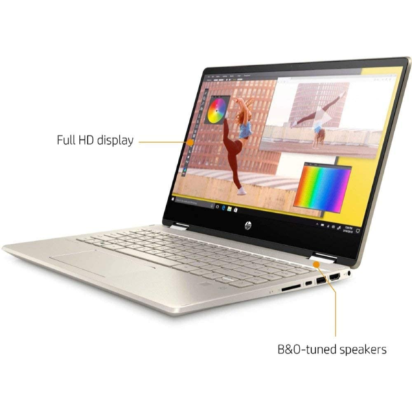 HP Pavilion 14M-DW0023 x360 Convertible Core™️ i5-1035G1 1.0GHz Quad Core 256GB SSD 8GB 14″ (1920×1080) TOUCHSCREEN BT WIN10 Webcam LUMINOUS GOLD BACKLIT Keyboard FP Reader 1yr Warranty